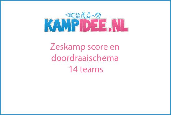 Zeskamp score en doordraaischema 14 teams